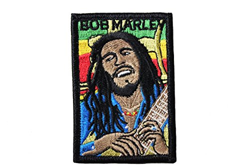 (BOB MARLEY Rectangle PORTRAIT Embroidered Iron on Patch Crest Badge .. Size : 2
