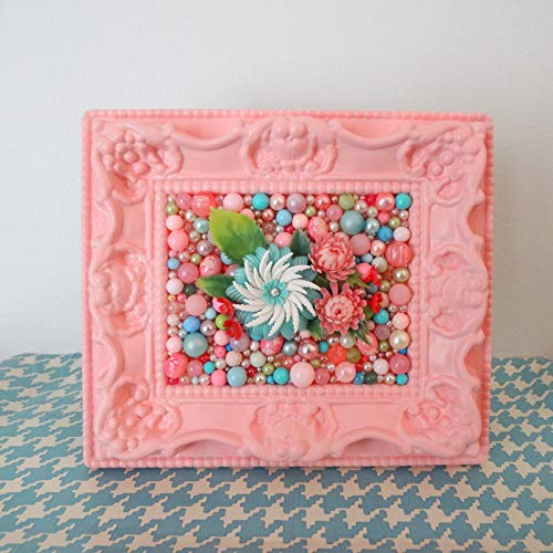 Pink Flower Mosaic - Vintage pink plastic beads - Kitsch Picture - Plastic ornate frame - Mixed Media - Girls Nursery Art- Retro Wall Art from Berry Island
