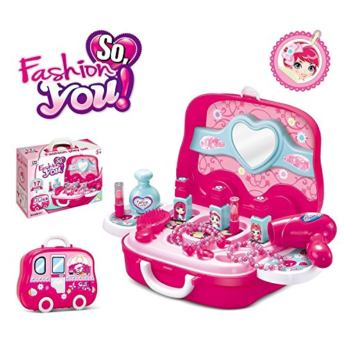 VikriDa Children Pink Color Beauty Makeup Kit Pretend Play Cosmetic Set Suitcase with Makeup Accessories for Children…
