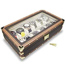 Ikee Design Leatherette Watch Box for 12 Watches, Brown