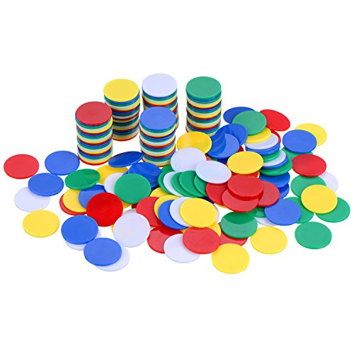 Willbond 200 Pieces Counters Counting Chips Plastic Markers 22 mm Mixed Colors for Bingo Chips Game Tokens with Storage Box (Plastic Token)