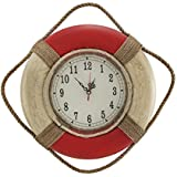 Red and White Life Ring Wall Clock 14 In.