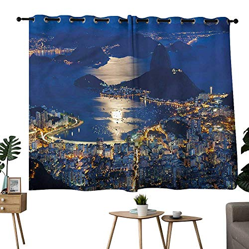 (Diycon Soft Curtain Night Mountain Sugar Loaf Rio Breathability W72 xL63 Suitable for Bedroom Living Room Study,etc)