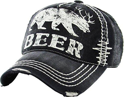 KBVT-588 BLK Beer Bear Dear Vintage Ballcap Distressed Washed (Cap Vintage Ball)