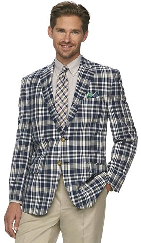 Chaps Mens Madras Plaid Classic-Fit Sport Coat, Navy/Cream (48 (Madras Blazer)