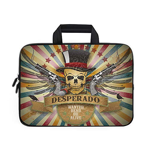 Western Laptop Carrying Bag Sleeve,Neoprene Sleeve Case/Vintage Desperado Emblem Design with Skull in Western Style Wings Colorful Stripes Decorative/for Apple MacBook Air Samsung Google Acer HP DELL