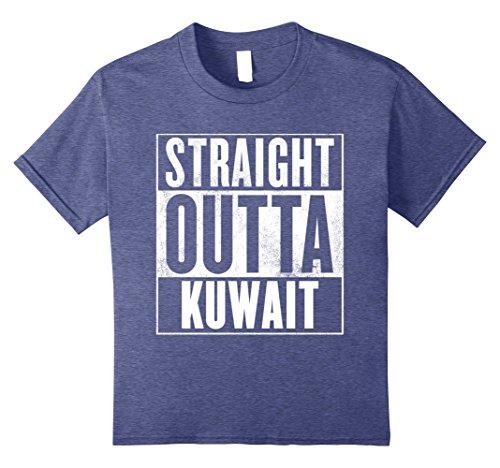 Kids Straight Outta Kuwait T-Shirt 10 Heather Blue (Kuwait Pick)