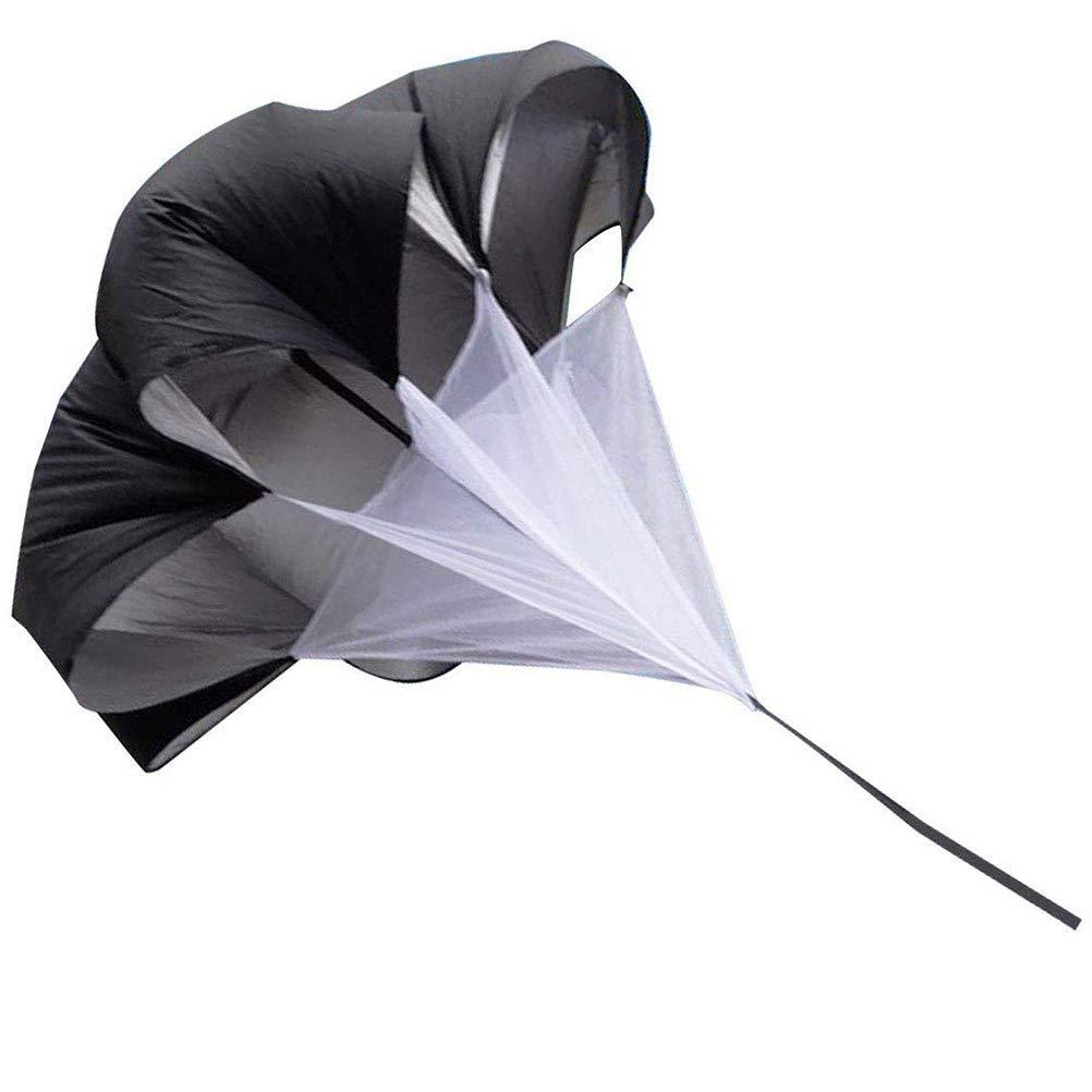 WONDS 1Pc Resistance Parachute 59inch Speed Training Resistance Parachute Umbrella Bundle Running Speed Training Parachute for Drag Sprint Chute Running Sports Explosive Power Training Black