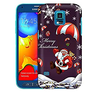 Samsung Galaxy S5 Sport Case, Slim Fit Snap On Cover by Trek Merry Christmas Santa Claus on Parachute Case