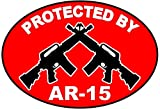 """1Pc Impassioned Unique Protected by AR-15 Stickers Signs Surveillance Windows Decal Under Cameras Protect House Neighbor Warning Outdoor Lawn Fence Property Yard Doors Security Decor Size 3.5""""x5"""""""