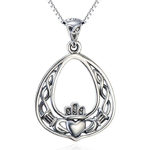 SILVER MOUNTAIN Sterling Silver Celtic Love by Kelly Hands Holding Crown Heart Claddagh Pendant Necklace, (Celtic Heart Pendant)