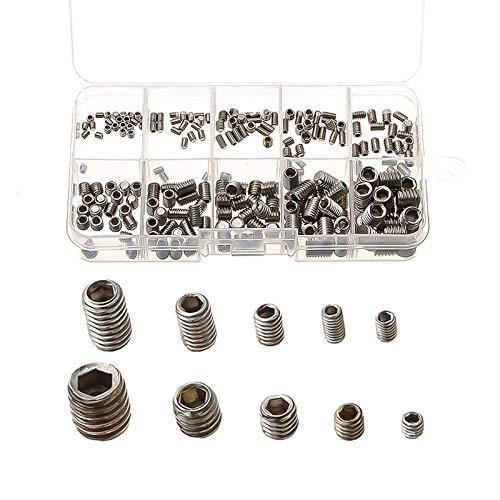 Screws - Urijk 200Pcs Metric Thread 304 Stainless Steel M3-M8 Hexagon Socket Cup Point Allen Head Key Grub Screws Box Packing from Mechanical's Zone