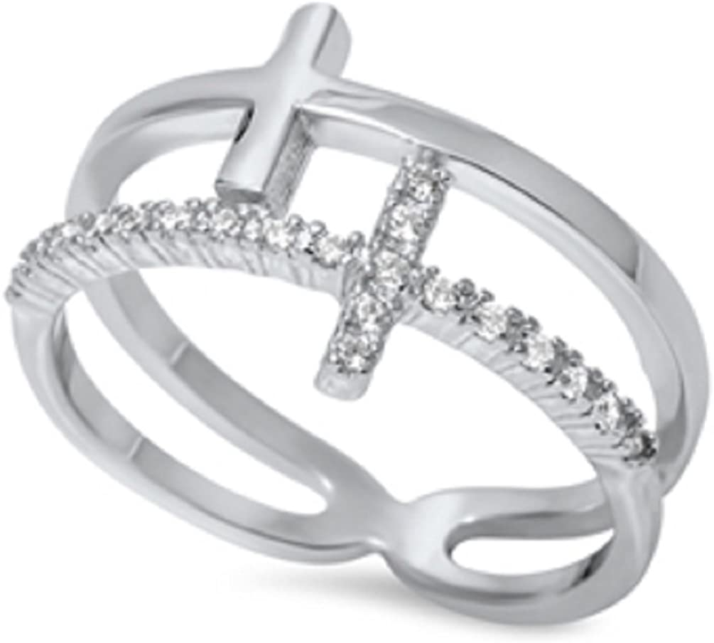 CloseoutWarehouse Cubic Zirconia Two Sideway Crosses Style Ring Sterling Silver
