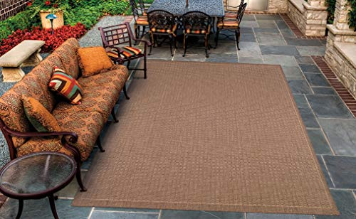 Couristan 1001/1500 Recife Saddle Stitch Cocoa/Natural Rug, 5-Feet 10-Inch by 9-Feet 2-Inch