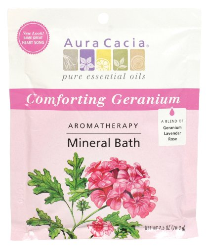 (Aura Cacia Aromatherapy Mineral Bath, Comforting Geranium, 2.5 ounce packet (Pack of 3))