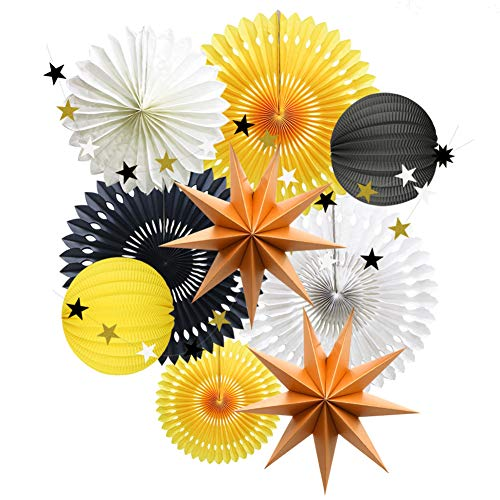 Yellow Black White Party Decorations, Hanging Tissue Paper Fans Star Garland Paper Lanterns Bumblebee Bee Baby Shower Gender Reveal Birthday Party ()