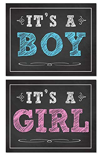 Its A Boy Sign (Katie Doodle Baby Gender Reveal Party Supplies Decorations Ideas Photo Booth Props for Social Media | Pregnancy Must Haves | Includes 8x10 Its a Boy and Its a Girl Sign)