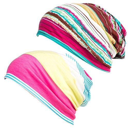 DancMolly Print Flower Cap Cancer Hats Beanie Stretch Casual Turbans for Women - Cap Womens Flowers