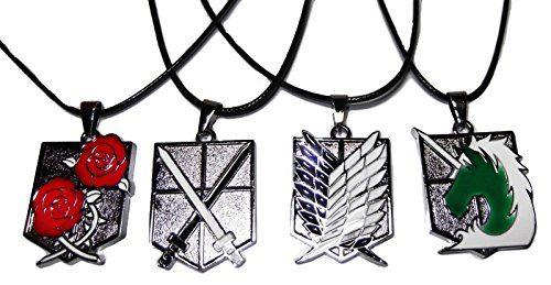 ATTACK ON TITAN Set of 4 Metal Logo Necklace PENDANTS on Leather Cords