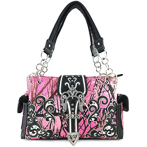 Justin West Camouflage Tree Branches Bling Rhinestone Buckle/Cross Shoulder Concealed Carry Handbag Purse (Buckle Pink Black)