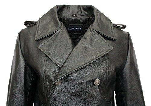 GERMAN NAVAL 8971 Black Hommes Classic Reefer militaire Cache de manteau en cuir veste