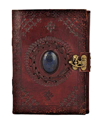 Price comparison product image Leather Journal with Semi-precious Stone & Buckle Closure Leather Diary Gift for Him Her