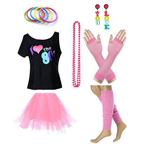 Women's I Love The 80's T-Shirt 80s Outfit accessories (S/M, Pink)