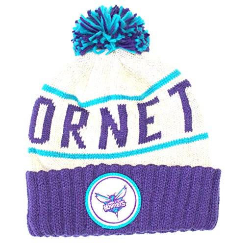 Mitchell & Ness NBA Officially Licensed Charlotte Hornets Knit Purple Cream Print Cuffed Pom Beanie Hat Cap Lid Toque