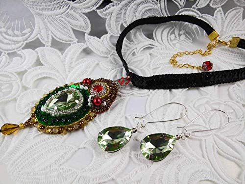 (Crystal Beadwork Jewelry Set Crystals necklace and hook earrings Green beadwork necklace choker)