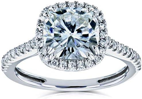 Kobelli Cushion Moissanite Halo Engagement Ring 2 1/4 CTW 14k White Gold