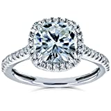 Product review for Cushion Moissanite Halo Engagement Ring 2 1/4 CTW 14k White Gold