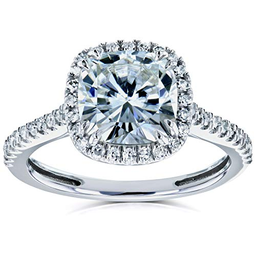 Kobelli Cushion Moissanite Halo Engagement Ring 2 1/4 CTW 14k White Gold, 4 (Cut Cushion Diamond)