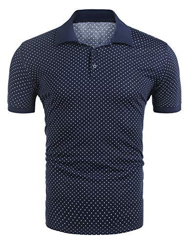 eeve Polo Shirt Polka Dot Turn Down Collar Casual Summer T-Shirt ()