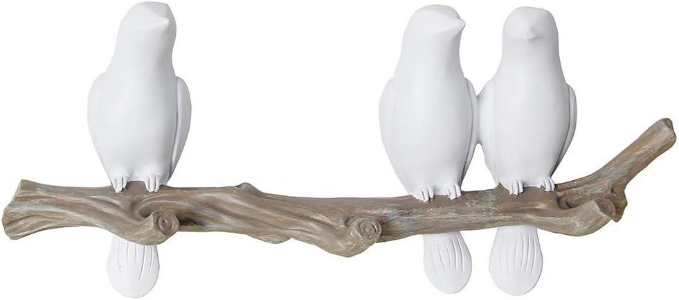 Birds On Tree Branch Decor Wall Mounted Coat Rack with Hooks for Coats, Hats, Keys, Towels (3 Birds)