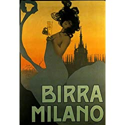 "Fashion Girl Birra Beer Milano Drink Italy Italia Italian 20"" X 30"" Image Size Vintage Poster Reproduction"