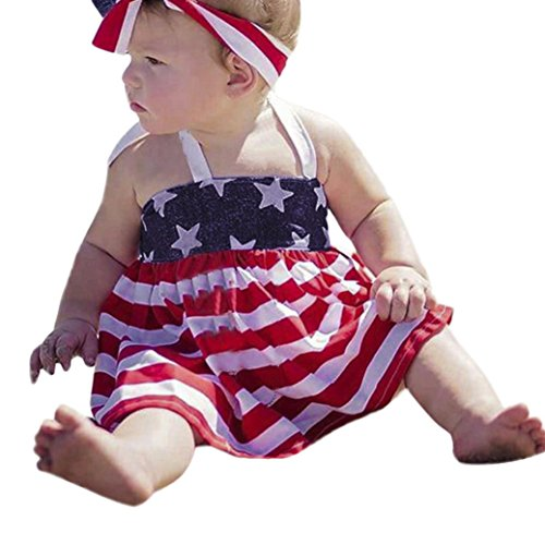 2Pcs Infant Baby Girls 4th of July Star Stripe Dress+Shorts Outfits Set Clothes (Red, 100)