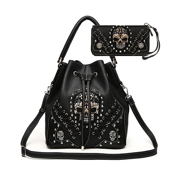 Sugar Skull Punk Art Rivet Studded Concealed Carry Purse Women Handbag Fashion Shoulder...