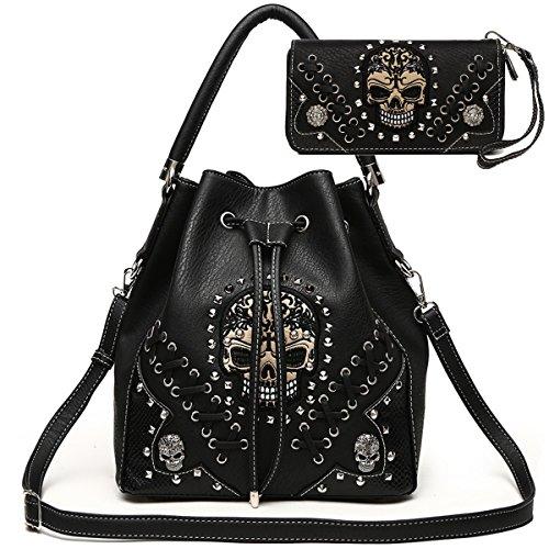 Sugar Skull Punk Art Rivet Studded Concealed Carry Purse Women Handbag Fashion Shoulder Bag Wallet Set (Black Set)