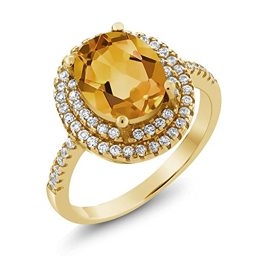 Citrine 18K Yellow Gold Plated Silver Ring (Size 5) ()