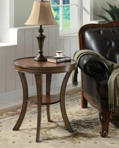 Coaster Furniture 900901 Round Parquet Accent Table With Cherry Finish