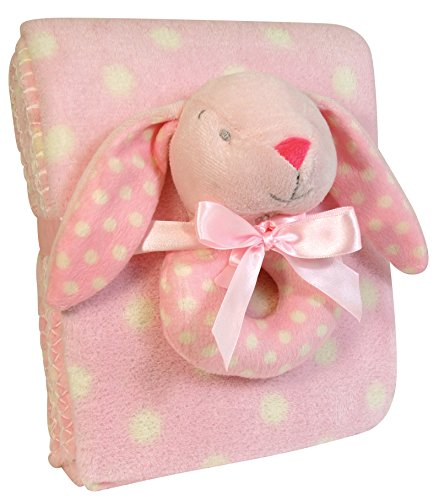 Stephan Baby Super Soft Coral Fleece Polka Dot Crib Blanket and Plush Ring Rattle Gift Set, Pink Bunny (Dot Rattle Polka)