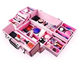 Ovonni Professional Portable Makeup Train Case, Artisit Lockable Aluminum Cosmetic Organizer Storage Box with 15 Compartments 4 Trays, Pink
