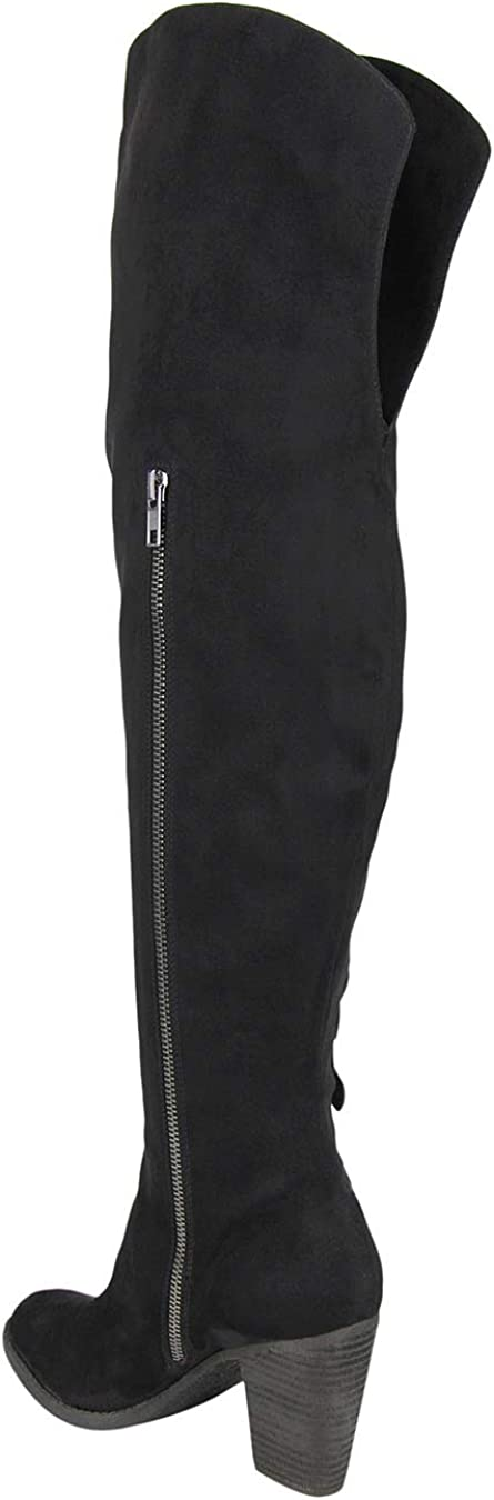 Not Rated Womens Alexis Fabric Closed Toe Over Knee Fashion Boots Black