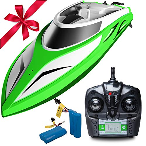 for Pools and Lakes - H105 Velocity Wave Fast RC Boat for Adults and Kids, Self Righting Brushless Motor RC Boat (Green/Large) ()