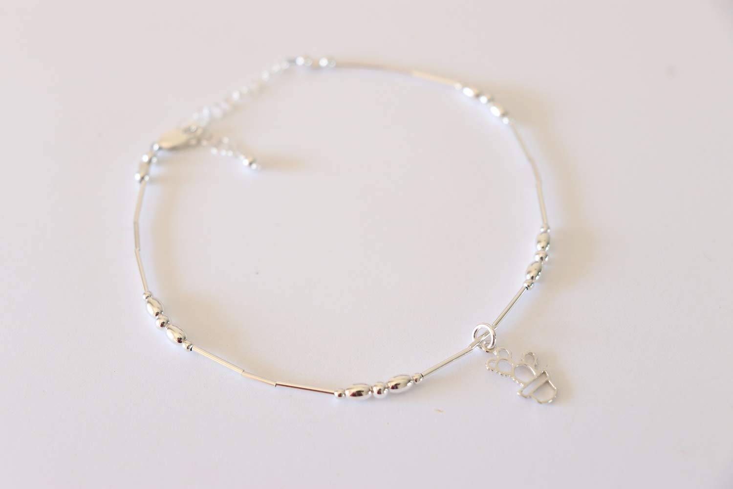 Cactus Anklet Sterling Silver Beach Gift Succulent Prickly Pear