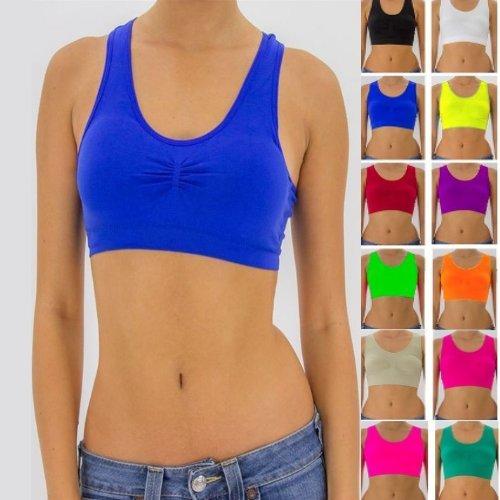 Seamless Racerback Sports Bra Exercise Yoga Fitness Top t-shirt Non-Padded Bra