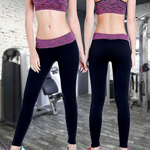 HYHAN Costura de aeróbic de Yoga adelgazante slim pantalones de jogging waist purple