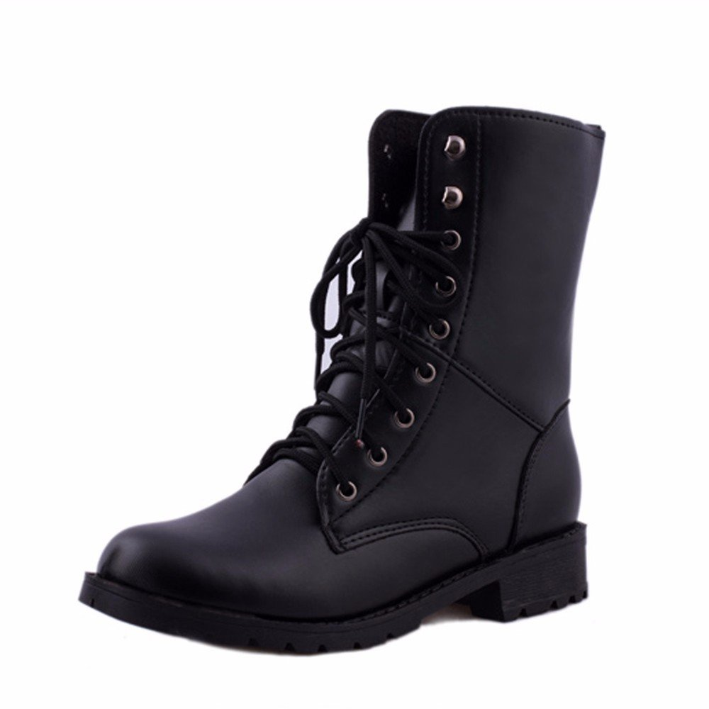 Women Boots, ღ Ninasill ღ Exclusive Lace Up Flat Biker Military Army Combat Black Boots Shoes (7.5, Black)