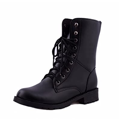 Femmes Hommes Lace Up Flat Biker Military Army Combat Black Boots Chaussures oSxGdSw