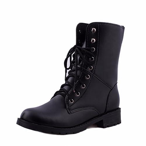 e4402e88 Botas,Manadlian Mujeres Motociclista Plano Zapatos Militares Zapatos de  Combate del ejército Botas Negras: Amazon.es: Zapatos y complementos